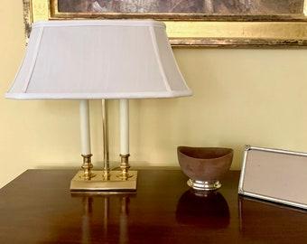 Vintage Brass Bouillotte Style Lamp, Silk Shade, Two Lights, Brass Lighting, Brass Home Decor, Desk Lamp