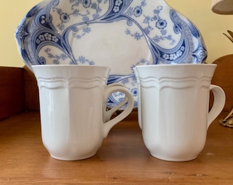 Mikasa French Countryside Mug, Cottage Farmhouse Kitchen Decor, Scalloped Design, 4 Available Each Sold Separately