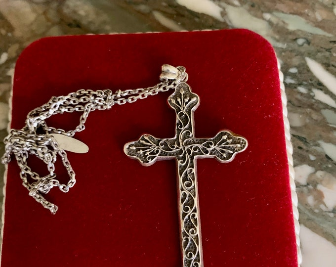 Featured listing image: Sterling Cross,  Silver Cross Pendant, 3 Inch Silver Cross with Chain, Gift for Her, Religious Gift,