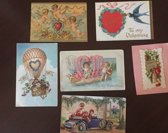 Vintage Valentine Postcards, 6 Valentine Holiday Cards, Holiday Ephemera, Valentine Craft Supplies, DIY Project