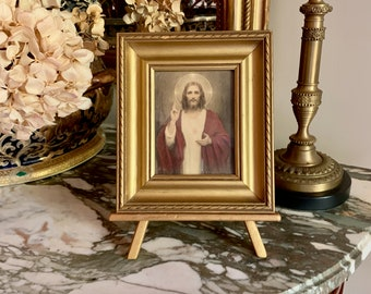 Vintage Jesus Print Framed, Small Print of Christ, Wooden Gold Toned Frame, Wooden Easel, Religious Art Print, Religious Gift Idea