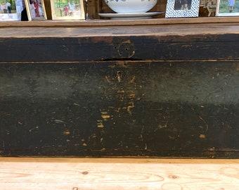 Rustic Blue Tool Box, Vintage Handmade Tool Box Old Blue Paint, Kindling Box, Toy Box, Country Primitive Farmhouse Decor