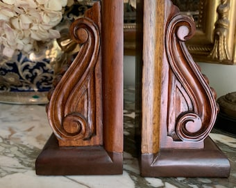Walnut Wood Bookends, Vintage Acanthus Leaf Walnut Wood Bookends, Library Decor, Book Lover Gift, Office Decor, English Country Decor