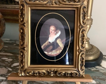 Vintage Small Portrait Framed, Victorian Lady Portrait, Gold Toned Frame, 5.5 x 6.5 inches, French Country Decor