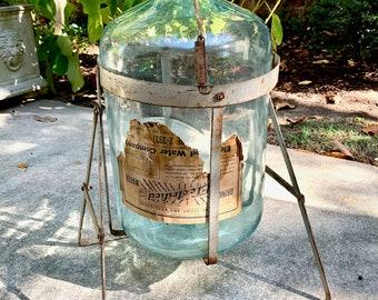 Rare Vintage Demijohn Water Jug Original Stand, Blue Green Glass Wine Jug, Original Electrified Water Company Demijohn Shreveport Louisiana