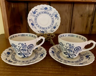 Blue Nordic J.G. Meakin Cup and Saucer, Blue and White Tea Cup and Saucer, English Ironstone Classic White Nordic, 5 Pieces