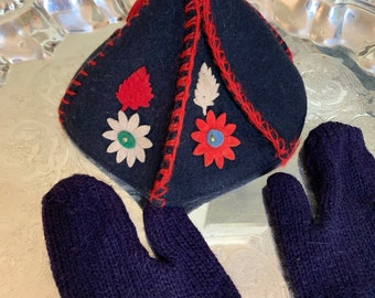 Child's Cap and Mittens, Navy Mittens Navy Red Cap, Vintage Toddler Handmade Cap and Mittens, Toddler Accessories
