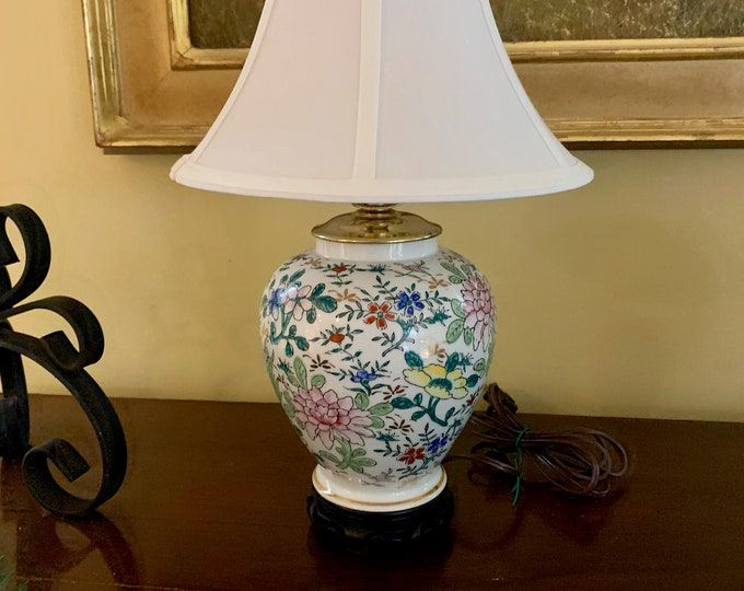 Featured listing image: Asian Porcelain Lamp Wooden Base, Chinoiserie Ginger Jar Style Lamp, Gold Trim, Pink Green Blue Floral Pattern, Asian Chinoiserie Decor