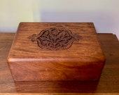 Vintage Walnut Box, Carved Wooden Box, Storage Box, Wooden Trinket Box, Decorative Accent Box, Cottage Farmhouse Decor