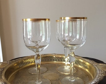 Crystal Gold Rimmed Wine Goblets, Set of 4 Mid Century Crystal Barware, Wedding Bridal Gift Idea, Barware Gift Idea