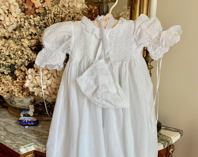 Featured listing image: Christening Gown with Cap Slip, Vintage Heirloom White Eyelet Baptismal Gown, Eyelet Cap and Slip, Smoked Christening Gown, Size 6 months