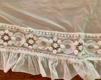 Ivory Sheer Valance with Lace Trim and Ruffle, Extra Long Sheer Ecru Valance, 188 Inches Cottage Farmhouse Decor,