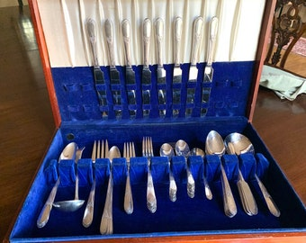 Beloved Silver Plate Flatware, 8 Place Settings, 69 Pieces Vintage Art Deco Wm. Rogers Flatware, Holiday Dining Flatware