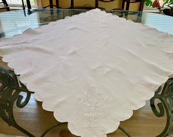 Linen Embroidered Table Topper, White Scalloped Square Petit Point Tablecloth 34 Inch, French Country Cottage Farmhouse Table Linens