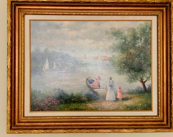 Vintage Oil Painting Water Scene with Family Outing, Signed Ron Stellar, Sailing Landscape, 18 x 24 Inch Image,