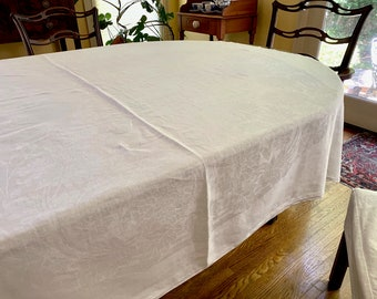 Floral Damask Tablecloth, White on White Design, Linen Damask Tablecloth, 70 x 70 Inches, Holiday Dining