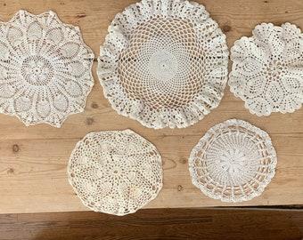 Crochet Doilies Round Set of 5, Cotton Crochet Doilies, Table Accents, Craft Supplies, Cottage Farmhouse Decor