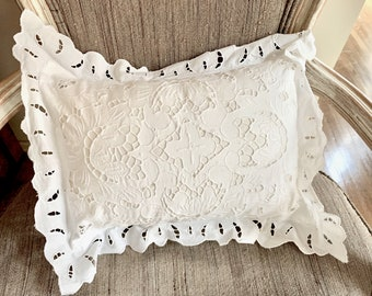 White Cutwork Pillow Cover and Form, Battenburg Style Accent Pillow Cover, White Shabby Cottage Accent Pillow,  Cottage Farmhouse Decor