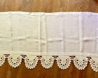 Vintage Linen Long Pillow Cover, Ivory Linen, Crochet Trim, 24 x 72 Inches, French Cottage Farmhouse Bed Linens
