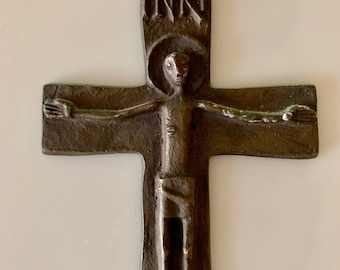 Iron Cross Crucifix, Vintage Handmade Cross with Words INRI, Small Wall Crucifix, Religious Gift Idea