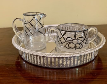Silver Overlay Creamer Sugar, Vintage Art Nouveau Decorative Small Creamer Open Sugar Bowl, Matching Set with Small Gallery Tray,