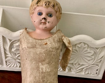 Antique Deponiri Doll No. 2, Hollow Metal Head, Glass Eyes, Leather Body with Muslin Covered Legs Saw Dust Filling, Vintage Wear, Doll Parts