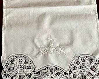 Embroidered Battenburg Tea Towel, Large White Battenburg Guest Hand Towel, Linen Shower Gift,  Bridal Hostess Gift