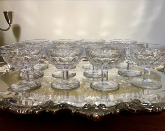 Fostoria American Clear Sherbets, Set of 12 Footed Clear Cube Low Sherbets, Mid Century Glassware, Holiday Dining, Cottage Farmhouse Dining