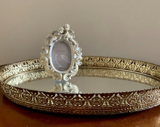 Featured listing image: Mirrored Brass Vanity Tray,  Filigree Brass Trim Perfume Tray, Oval Mirrored Tray, Flocked Velveteen Back, Oval Tabletop Mirror