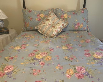 Vintage Blue Floral Bedding, Full Queen Size Comforter, Dust Ruffle, Pillow Shams Accent Pillow, Shabby Cottage Bedding, Cottage Farmhouse