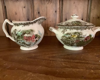 Friendly Village Creamer and Sugar with Lid Old Mill Pattern, Johnson Brothers English Transferware Serving Pieces, Holiday China