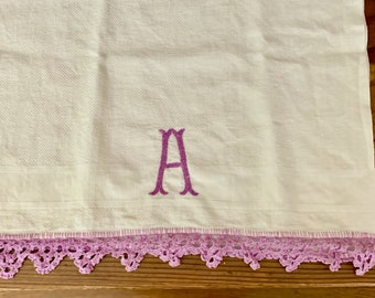 Monogrammed Tea Towel with Purple Embroidery, Purple Crochet Lace Trim, Vintage Embroidered Guest Hand Towel, Cottage Farmhouse Linens