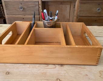 Vintage Desk Cubby Tray, Wooden Cubby Storage Tray, Handled Dovetailed Compartment Tray, Natural Wood Birch Color