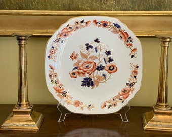 Enoch Wedgwood Old Derby Platter, Hand Engraved Windermere Orange and Blue Chop Plate, Chinoiserie Floral Pattern Serving Plate,