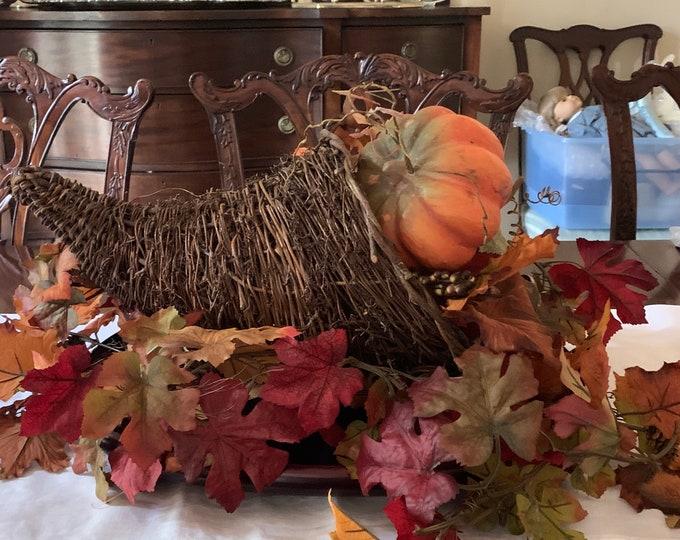 Featured listing image: Grapevine Cornucopia Basket, Fall Decor Harvest Basket, Decorative Horn Shaped Reed Basket, Woven Reed Thanksgiving Basket,