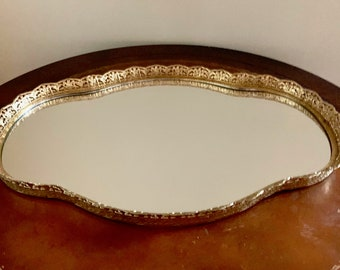 Mirrored Vanity Tray, Oval Scalloped Gold Toned Metal Filigree Perfume Tray, Dresser Boudoir Tray, Hollywood Regency Chic Decor