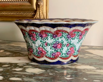 Porcelain Cache Pot, Hand Painted Small Flower Container, French Chinoiserie Style Scalloped Cache Pot, Navy White Pink Gold,