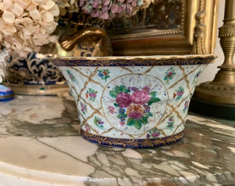 Vintage Porcelain Cache Pot, Asian Hand Painted Floral Oval Flower Container, Gold Trim, Navy Pink Green,  Chinoiserie Decor, Asian Decor