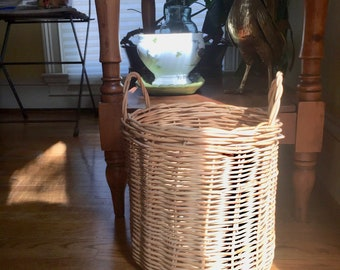 Vintage Wicker Basket with Handles, Indoor Planter Basket, Natural Wicker Storage Basket, Medium Size Basket, Wicker Waste Basket