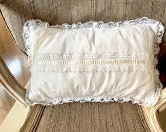 White Lace Pillow Cover with Form, Cream Inset Ribbon, Vintage White Pillow with Zipper, Shabby Cottage Farmhouse Bedding,