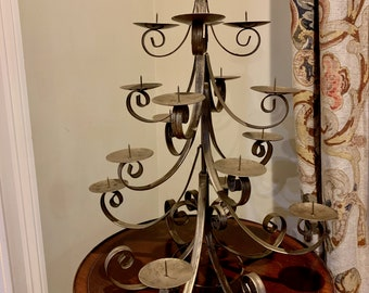 Christmas Tree Candle Stand, Metal Pillar Candlestick Holder Table Centerpiece, 16 Candles, Holiday Pillar Candle Holder Center