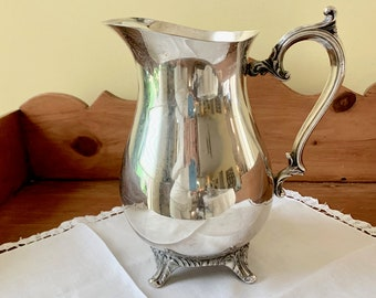 Silver Water Pitcher, Vintage Wm Rogers Silver Plate Pitcher with Ice Lip, Silver Flower Vase, French Country Cottage Farmhouse