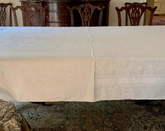 White Damask Tablecloth,  Large Linen Damask Tablecloth, 66 x 100 Inches, Cottage Chic Farmhouse Table Linens, Reception Tablecloth