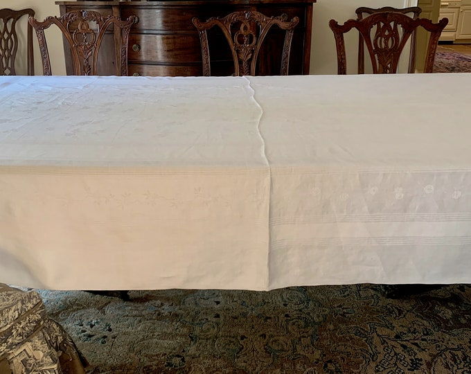 Featured listing image: White Damask Tablecloth,  Large Linen Damask Tablecloth, 66 x 100 Inches, Cottage Chic Farmhouse Table Linens, Reception Tablecloth