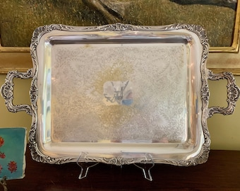 Silver Butler's Tray, Silver over Brass Handled Tray, Wm. A. Rogers Silver Serving Tray, Pattern Spring Flowers, Silver  Barware Tray