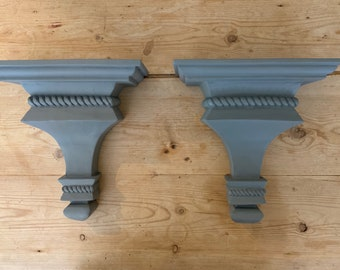 Gray Wall Shelf Sconces, Gunmetal Gray Color Hand Painted, Rustic Farmhouse Colonial Large Sconces, Pair of Shelf Sconces