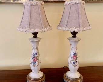 Pair Porcelain Lamps, Cream Colored Hand Painted Floral Gold Trim Brass Base, Bedside Table Lamps, Vanity Lamps, Living Room Lamps