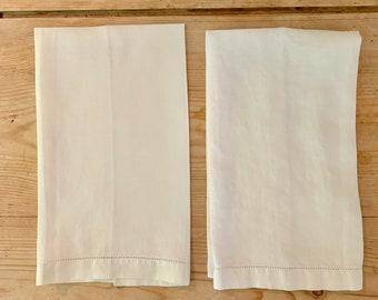 Pair Hemstitched Tea Towels, Ivory Linen Guest Hand Towels, Finger Towels, Sold as a Set, Cottage Farmhouse Linens
