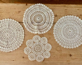 Crochet Doilies, Set of 4 Round White Doilies, Vintage Handmade Doilies, Craft Supplies, Table Linens, Cottage Farmhouse Decor