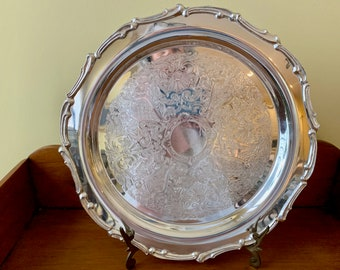Round Silver Tray, Scalloped Silver Serving Tray, 14 Inch Silver Plate Barware Tray,